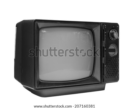 Black and white vintage analog television isolated over white background, clipping path. - stock photo