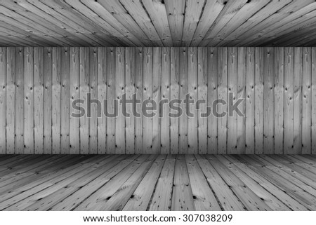 Black and white vintage brick wall and wood floor texture interior background   - stock photo