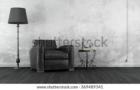 Black and white vintage living room with leather armchair and wrought iron coffee table - 3D Rendering - stock photo