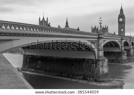 Black and white vintage picture of Westminster Bridge, parliament and Big Ben in London, England - stock photo