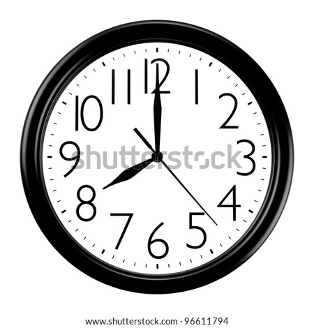Black and white wall clock - stock photo