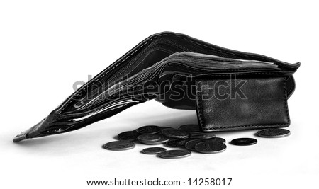 black and white wallet and money - stock photo