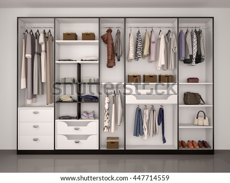 black and white wardrobe closet full of different things. 3d illustration. - stock photo