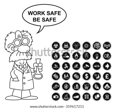 Black and white warning hazard security office finance and entertainment related icon collection isolated on white background with work safe be safe message - stock photo