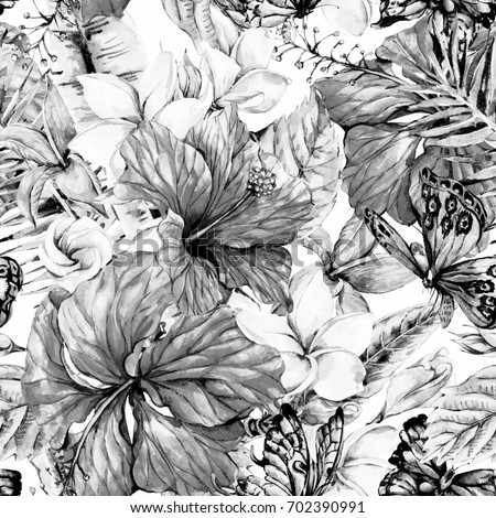 Black And White Watercolor Vintage Tropical Flowers Seamless Pattern Exotic Floral Plumeria Chinese