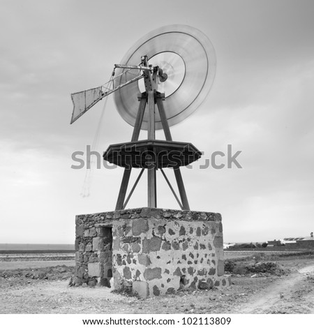 black and white Windmill Scenery - stock photo