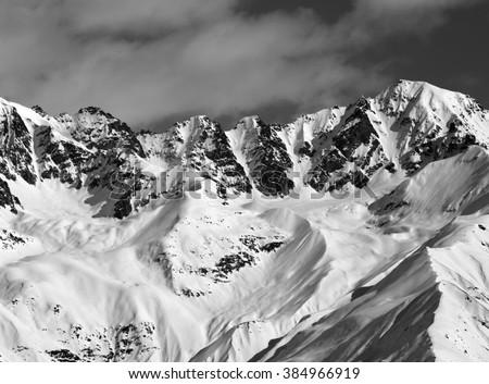 Black and white winter high mountains. View from chair lift on Hatsvali, Svaneti region of Georgia. Caucasus Mountains. - stock photo