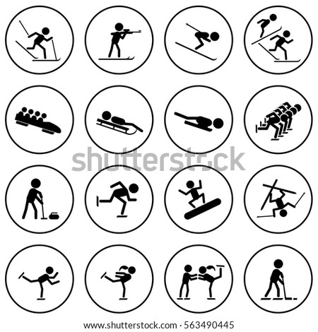 Black and white winter sports icons set. Raster copy.