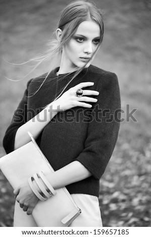 black and white woman fashion model outdoor portrait - stock photo
