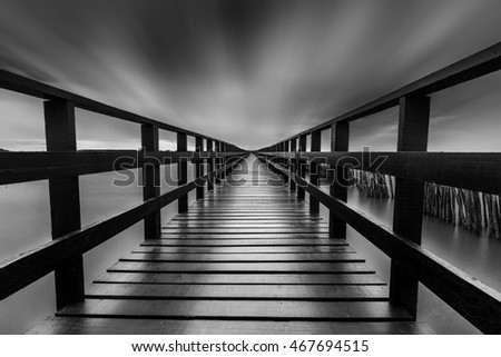 black and white,Wood Bridge, out to sea