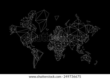black and white world map low poly illustration - stock photo