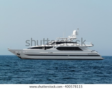 black and white yacht in the water. On the sea and sky background