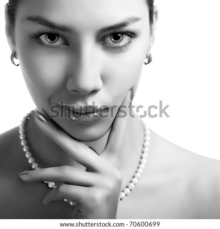Black and wight beauty portrait of a  sexy caucasian woman - stock photo
