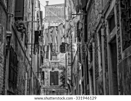 Black and withe shoot , View of a typical street, 25 October 2015 Italy