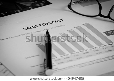 Black and write Financial accounting sales forecast graphs analysis - stock photo