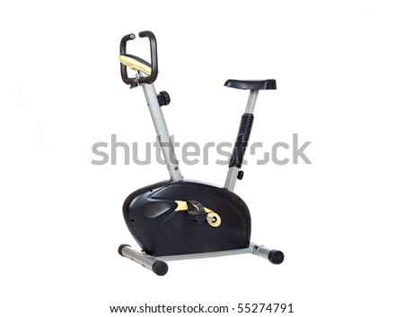 Black and yellow bike isolated on white background - stock photo