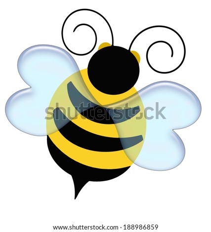 black and yellow bumble bee on white illustration - stock photo