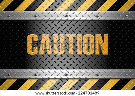 Black and yellow lines with caution sign  on a metal diamond plate  background  - stock photo