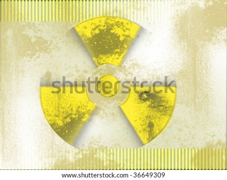 black and yellow nuclear background - stock photo