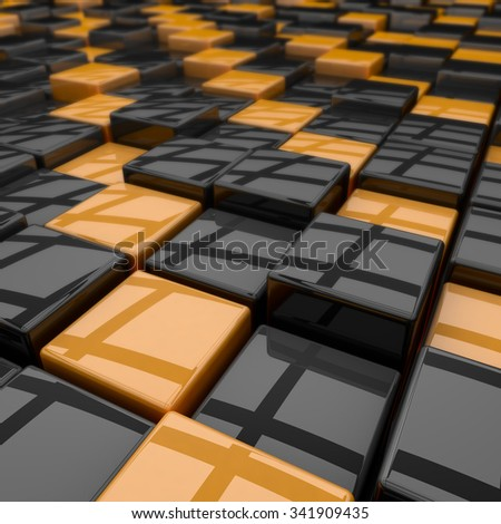 Black and yellow rounded cubes 3D background. - stock photo
