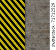 Black and yellow seamless caution stripes over a dirty wall illustration - stock photo
