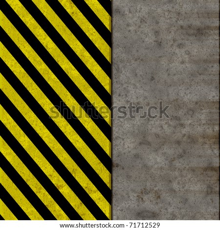 Black and yellow seamless caution stripes over a dirty wall illustration