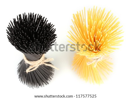 Black and yellow spaghetti isolated on white