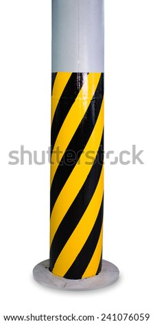 Black and yellow striped column isolated on white background - stock photo