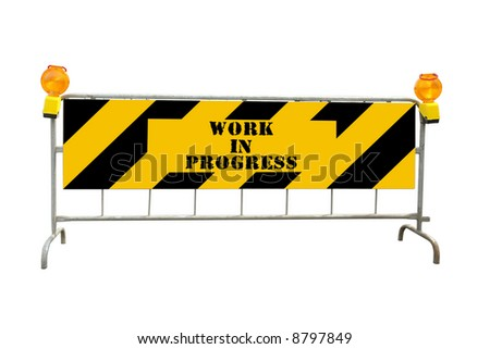 Black and yellow striped road construction barrier with warning beacons and Work in Progress text - isolated on white - stock photo