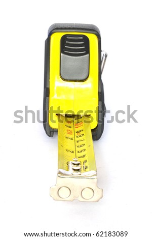 Black and Yellow Tapemeasure on white background - stock photo