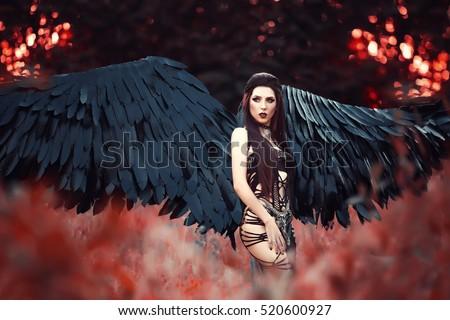 Black angelbeautiful sexy girldemon spreading black stock photo 520600927 shutterstock - Hot demon women ...