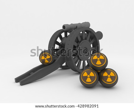 black, antique cannon on a white background with a telescopic sight, 3D rendering
