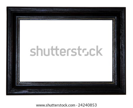 black antique frame on white background - stock photo