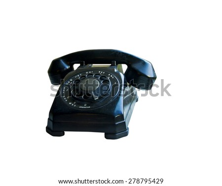 Black antique rotary style phone isolated on white - stock photo