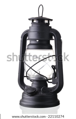 black antique style latern isolated on white - stock photo