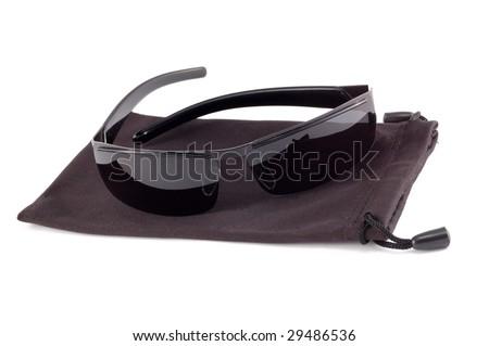 black antisun glasses on a white background - stock photo