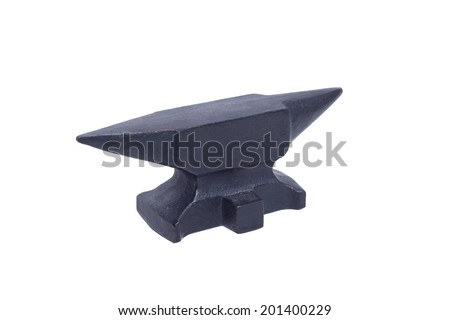 Black anvil isolated with clipping path - stock photo