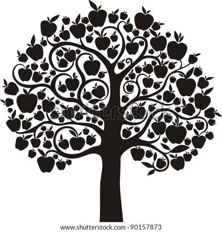 Black apple tree isolated on White background. Illustration - stock photo