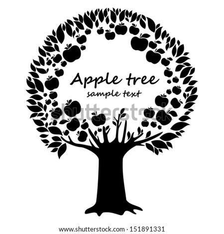 Black apple tree isolated on White background. Natural background with apple tree and place for your text.  illustration  - stock photo