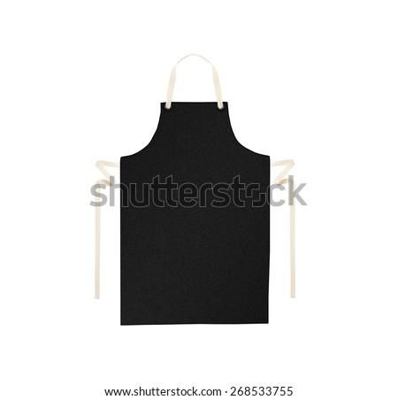 Black apron isolated on white - stock photo