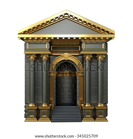 Black Arch With Corinthian Columns. 3d render. - stock photo