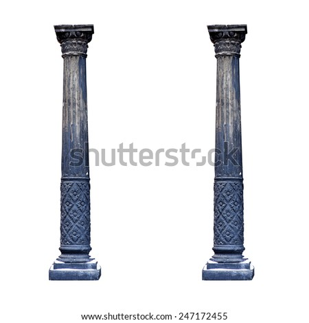 Black architectural columns isolated on white background. - stock photo