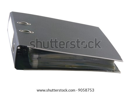 black archive business folder with clipping path isolated on white background - stock photo