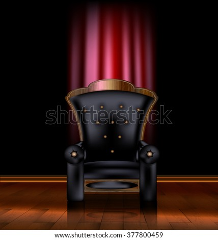 black armchair and red drape - stock photo