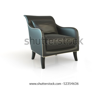 Black  armchair isolated on white - stock photo