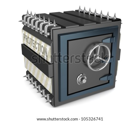 Black armored safe deposit box with spikes - stock photo