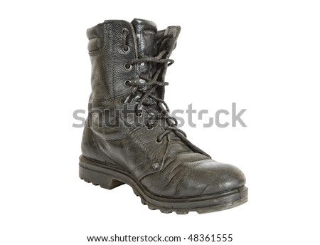 Black army boot - stock photo