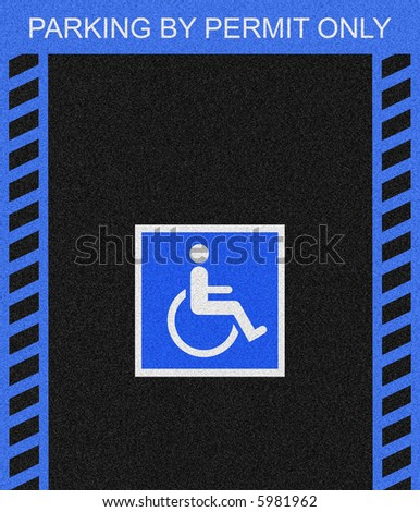Black asphalt parking space marked with the Handicap symbol and bordered by blue lines.