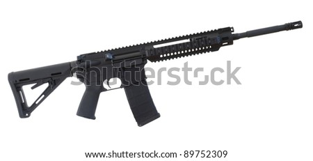 Black assault rifle with an adjustable stock isolated on white - stock photo