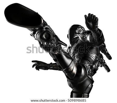 black astronaut kung fu attack 3d illustration